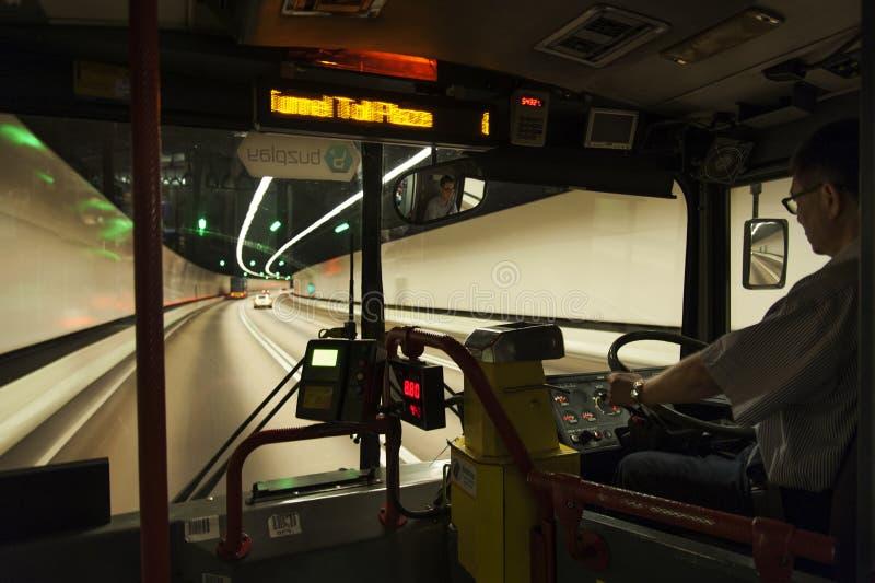 Άποψη πιλοτηρίων του λεωφορείου στο Χονγκ Κονγκ στοκ φωτογραφία με δικαίωμα ελεύθερης χρήσης