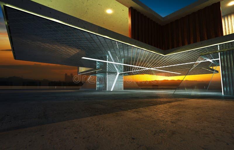 Άποψη προοπτικής του σύγχρονου εξωτερικού οικοδόμησης απεικόνιση αποθεμάτων