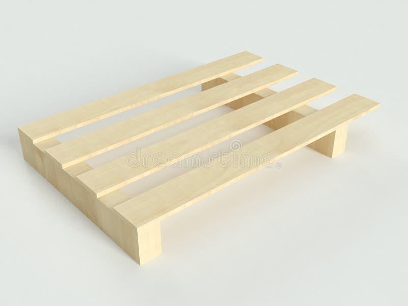 Άποψη προοπτικής των μικρών ξύλινων παλετών στο γκρίζο υπόβαθρο απεικόνιση αποθεμάτων