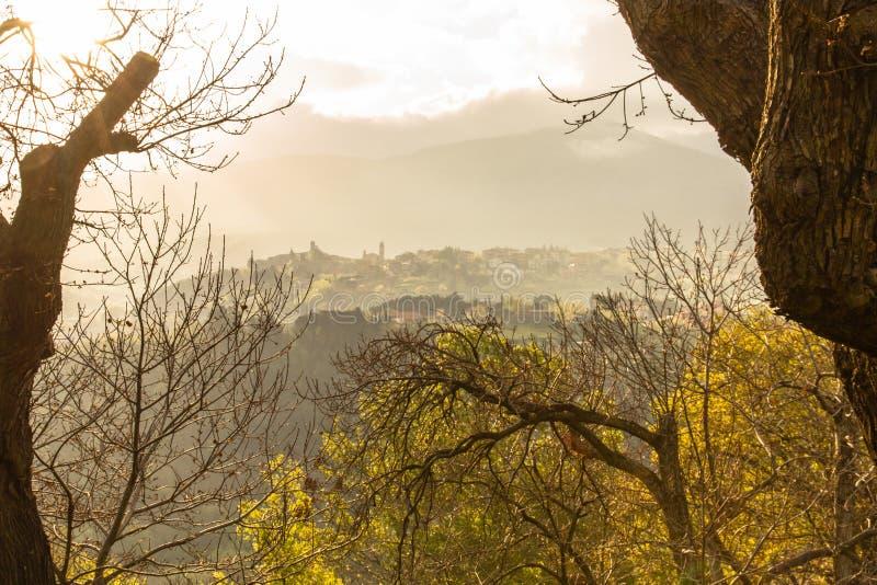 Άποψη πρωινού του αρχαίου χωριού στοκ εικόνες με δικαίωμα ελεύθερης χρήσης