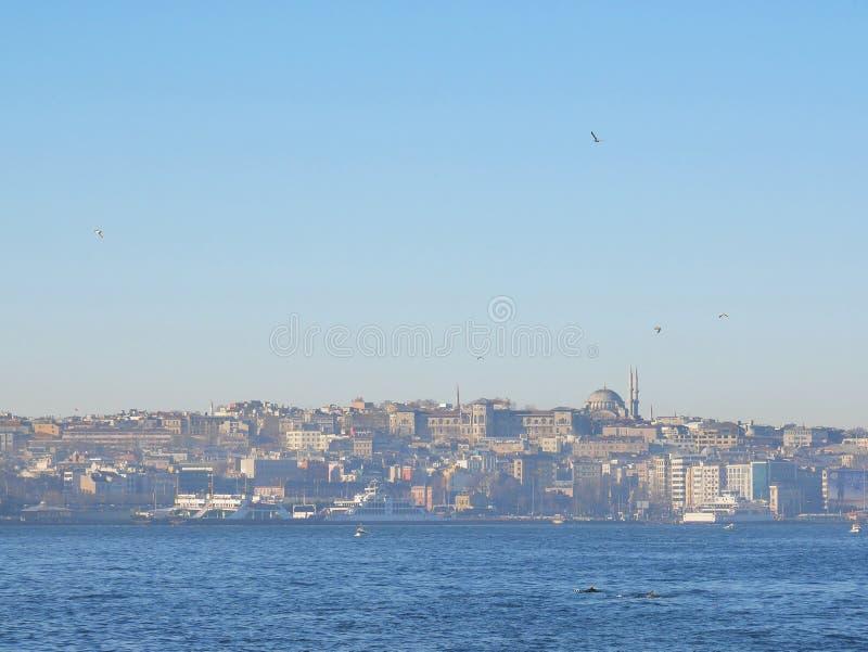 Άποψη πρωινού του στενού της Ιστανμπούλ Bosphorus στοκ φωτογραφία με δικαίωμα ελεύθερης χρήσης