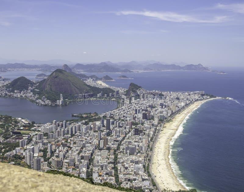 Άποψη πόλεων Ρίο ντε Τζανέιρο από Dois Irmaos στοκ φωτογραφία