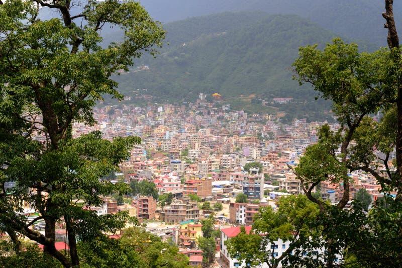 Άποψη πόλεων του Κατμαντού από το ναό Swayambhunath, Νεπάλ στοκ εικόνες