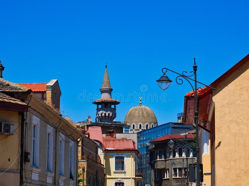Άποψη σε ιστορικό Constanta στη Carol Ι μουσουλμανικό τέμενος, Ρουμανία στοκ εικόνα