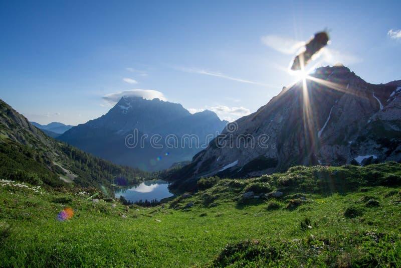Άποψη σε Zugspitze με το πέταγμα σφηκών στοκ εικόνα