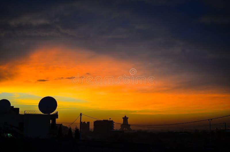 Άποψη σκιαγραφιών σε Ouagadougou στοκ εικόνες