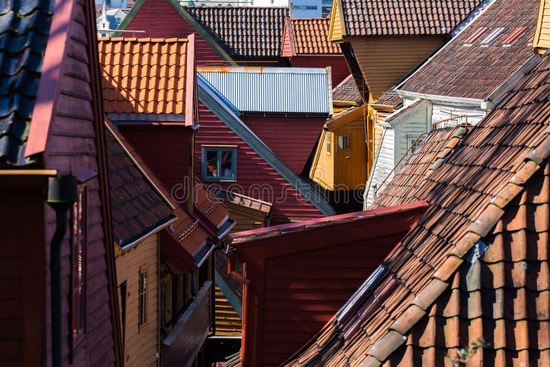 Άποψη στεγών Bryggen, Μπέργκεν, Νορβηγία στοκ φωτογραφίες με δικαίωμα ελεύθερης χρήσης