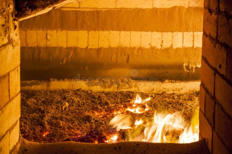 Άποψη στην καίγοντας σόμπα βιομηχανικού άνθρακα. στοκ εικόνες με δικαίωμα ελεύθερης χρήσης
