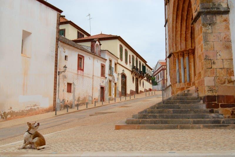 Άποψη στην οδό με τα ιστορικά κτήρια σε Silves, Πορτογαλία στοκ φωτογραφία με δικαίωμα ελεύθερης χρήσης