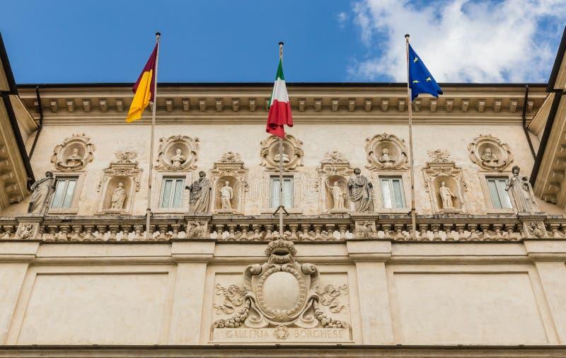 Άποψη στην πρόσοψη Galleria Borghese στη βίλα Borghese, Ρώμη στοκ φωτογραφία με δικαίωμα ελεύθερης χρήσης