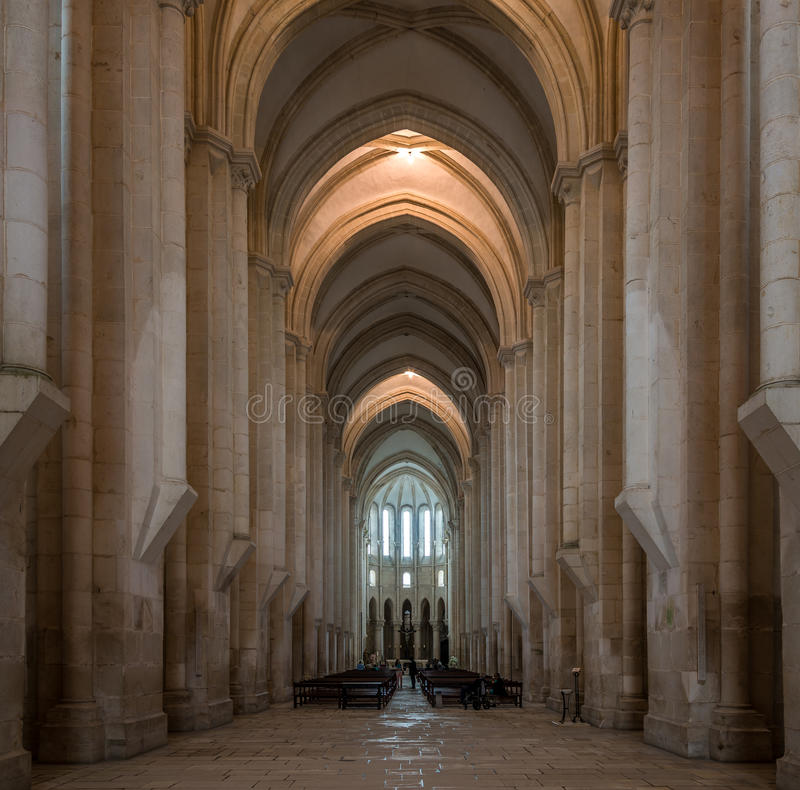 Άποψη στη γοτθική χορωδία μέσα στο μοναστήρι Alcobaca στην Πορτογαλία στοκ φωτογραφίες
