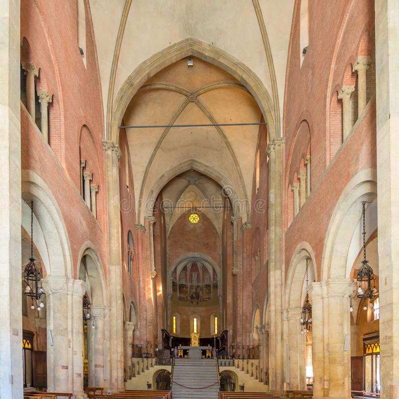 Άποψη στον εσωτερικό καθεδρικό ναό Αγίου Domnius SAN Donninoof Fidenza στην Ιταλία στοκ εικόνες με δικαίωμα ελεύθερης χρήσης