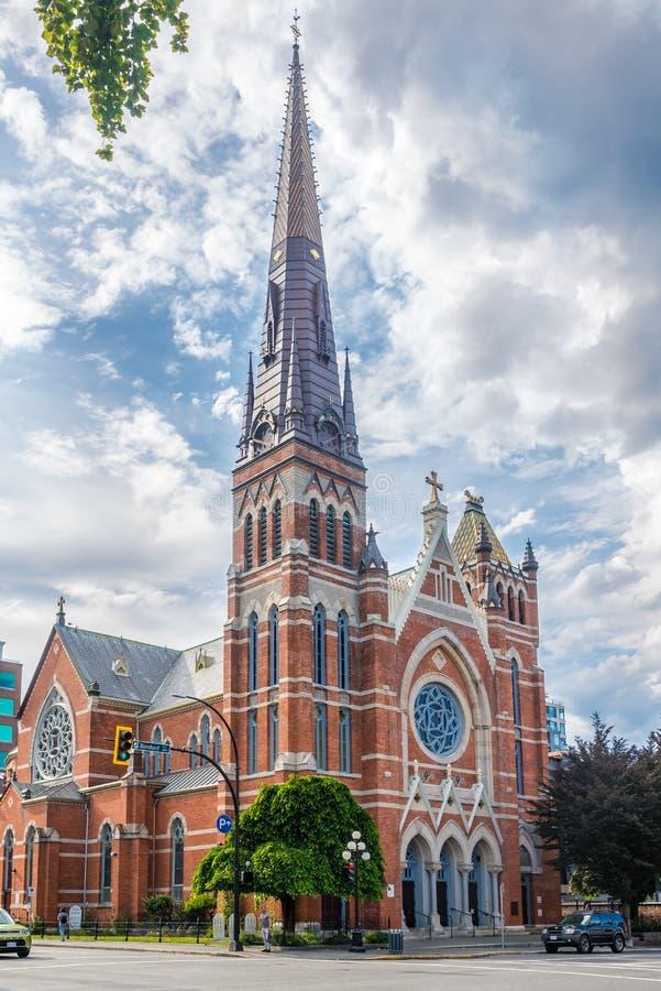 Άποψη στον καθεδρικό ναό του Saint-Andrews στις οδούς της πόλης Βικτώριας - Καναδάς στοκ φωτογραφίες