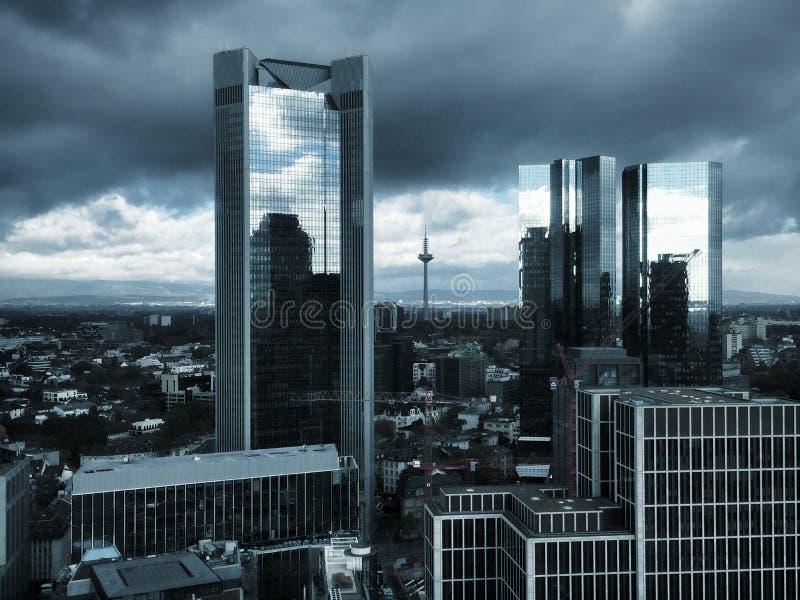Άποψη στον ορίζοντα της Φρανκφούρτης στη Γερμανία στοκ εικόνες