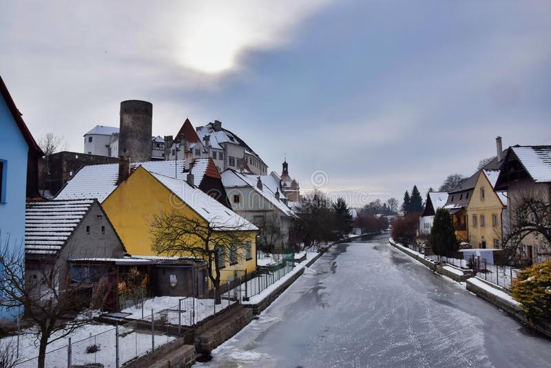 Άποψη στον ποταμό Nezarka το χειμώνα στοκ εικόνες με δικαίωμα ελεύθερης χρήσης