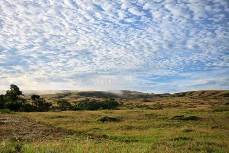 Άποψη στους λόφους της σαβάνας κάτω από το ζαλίζοντας ηλιόλουστο νεφελώδη ουρανό στοκ φωτογραφία