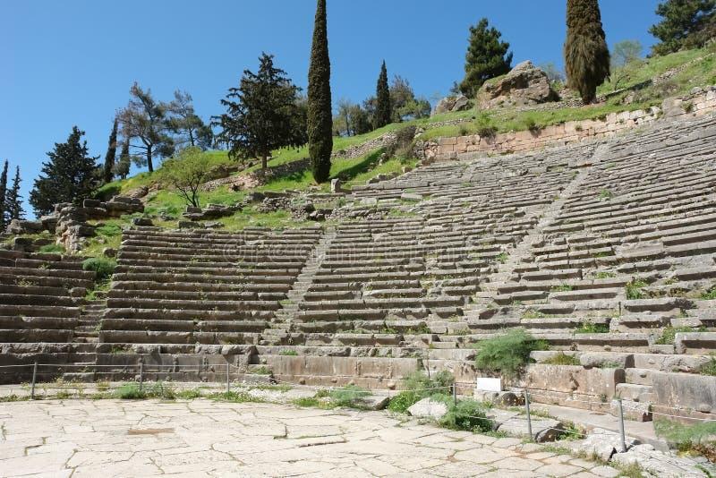 Άποψη στο αρχαίο θέατρο των Δελφών, Ελλάδα στοκ φωτογραφίες με δικαίωμα ελεύθερης χρήσης