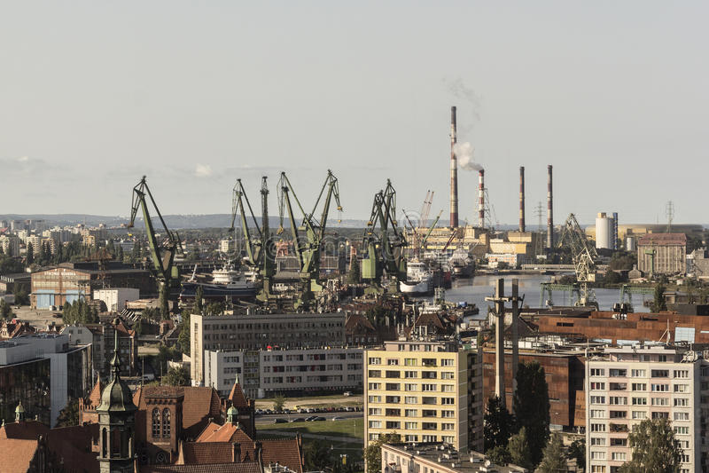 Άποψη στο ναυπηγείο του Γντανσκ στοκ εικόνες