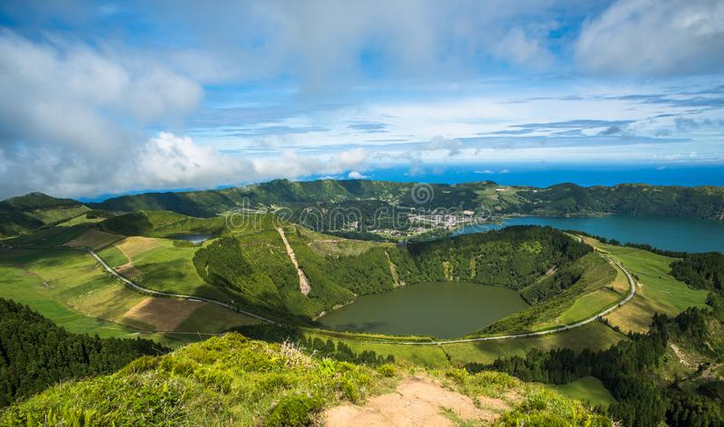 Άποψη στο Caldeira Sete Cidades, νησί του Miguel Σάο, Αζόρες, στοκ εικόνα με δικαίωμα ελεύθερης χρήσης