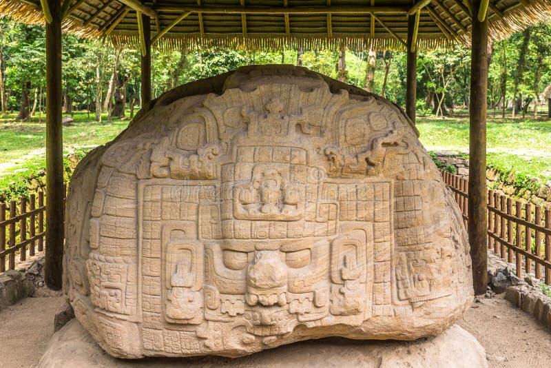 Άποψη στο Zoomorph Π στην αρχαία αρχαιολογική περιοχή της Maya σε Quirigua - τη Γουατεμάλα στοκ φωτογραφία