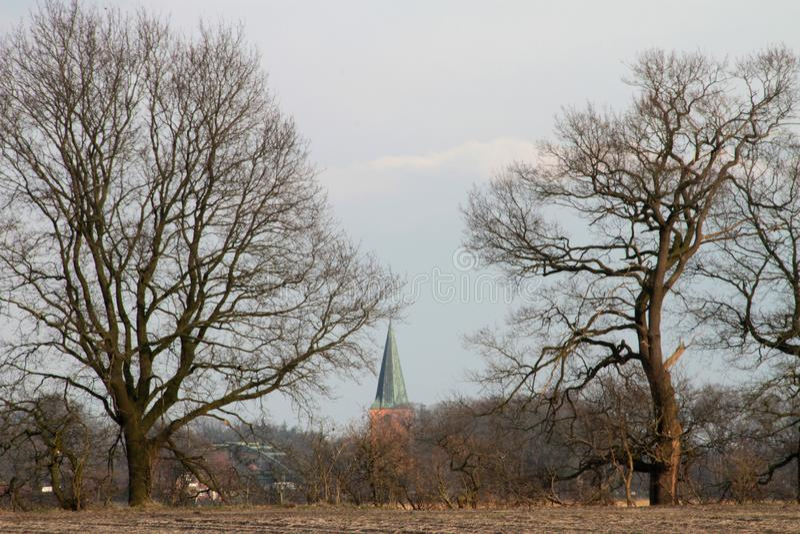 Άποψη σχετικά με ένα καμπαναριό μιας εκκλησίας που κρύβεται από τα δέντρα να περιβάλει του papenburg Γερμανία στοκ φωτογραφία με δικαίωμα ελεύθερης χρήσης
