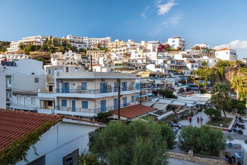 Άποψη σχετικά με την πόλη Aghia Galini στο νησί της Κρήτης, Ελλάδα στοκ φωτογραφίες