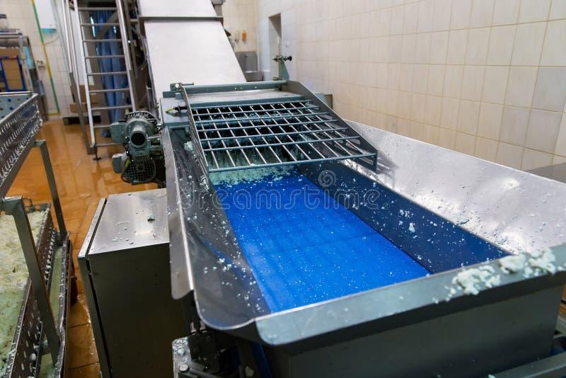Άποψη σχετικά με τον εξοπλισμό στο εργοστάσιο γάλακτος που χρησιμοποιείται για την κατασκευή του τυριού εξοχικών σπιτιών στοκ εικόνα
