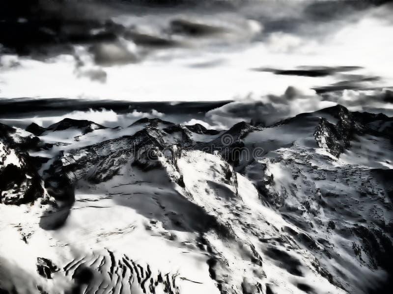 Άποψη σχετικά με τον παγετώνα στο ηλιοβασίλεμα το βράδυ στοκ φωτογραφία