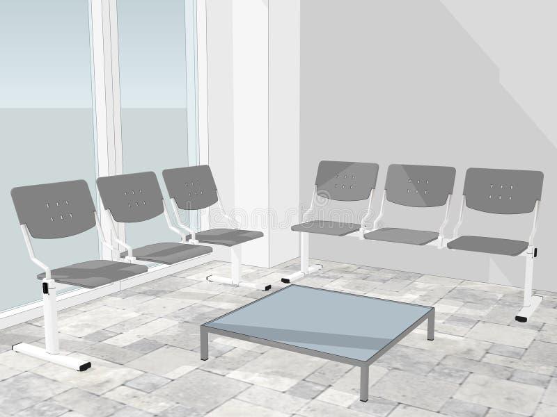 Άποψη της αίθουσας αναμονής σε ένα λόμπι γραφείων ελεύθερη απεικόνιση δικαιώματος