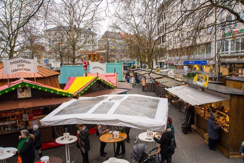 Άποψη της αγοράς Χριστουγέννων Christkindlmarkt στο Μόναχο, Γερμανία στοκ εικόνες