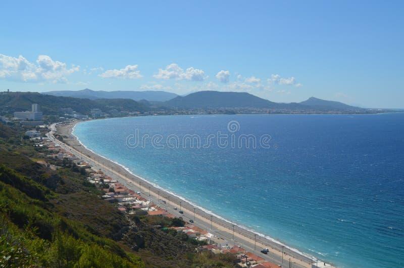 Άποψη της ακτής στη Ρόδο Ελλάδα στοκ εικόνες με δικαίωμα ελεύθερης χρήσης