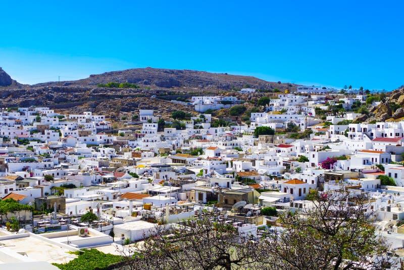 Άποψη της αρχαίας πόλης Lindos στοκ φωτογραφία