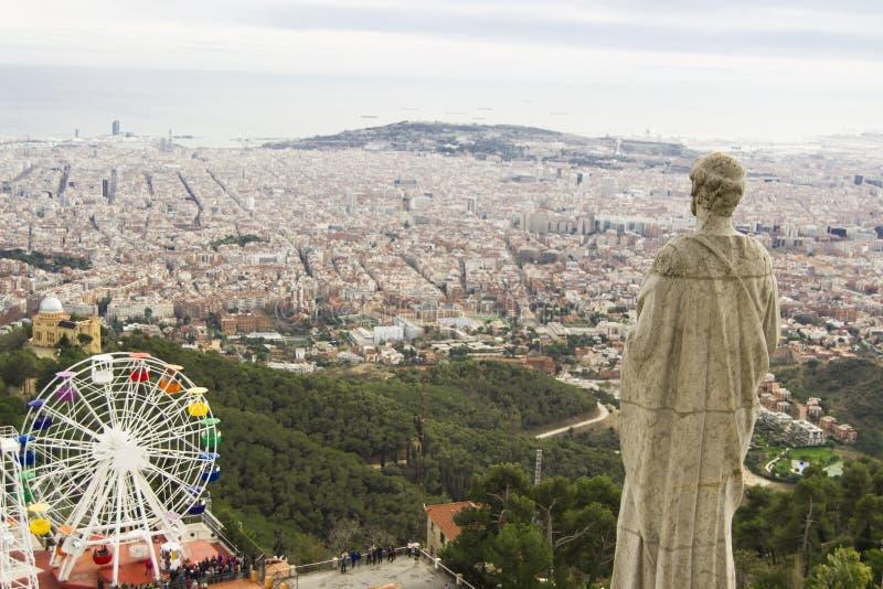 Άποψη της Βαρκελώνης από το ναό σε Tibidabo στοκ φωτογραφία με δικαίωμα ελεύθερης χρήσης