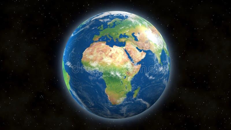 Άποψη της γης από το διάστημα με την Αφρική και την Ευρώπη ελεύθερη απεικόνιση δικαιώματος