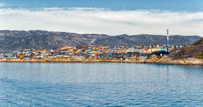 Άποψη της Γροιλανδίας της πόλης του Ιλούλισσατ και icefjord Τόπος προορισμού τουριστών στο actic στοκ φωτογραφία