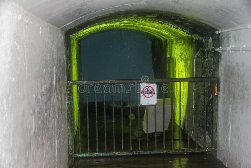 Άποψη της εξέτασης της πύλης πίσω από τις πτώσεις Καναδάς Οντάριο Καταρράκτες του Νιαγάρα στοκ εικόνες