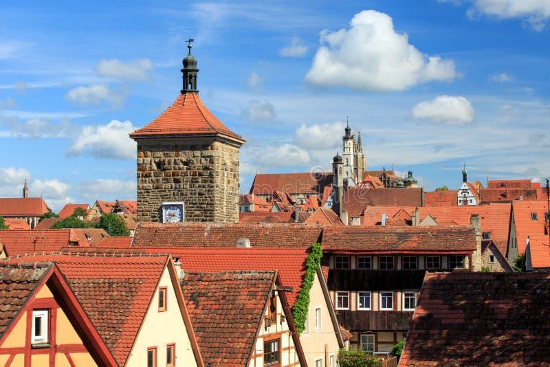 Άποψη της ιστορικής πόλης Rothenburg ob der Tauber, Franconia στοκ φωτογραφία με δικαίωμα ελεύθερης χρήσης