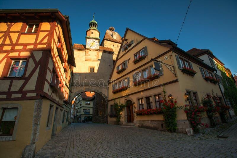 Άποψη της ιστορικής πόλης Rothenburg ob der Tauber, Franconia στοκ εικόνα
