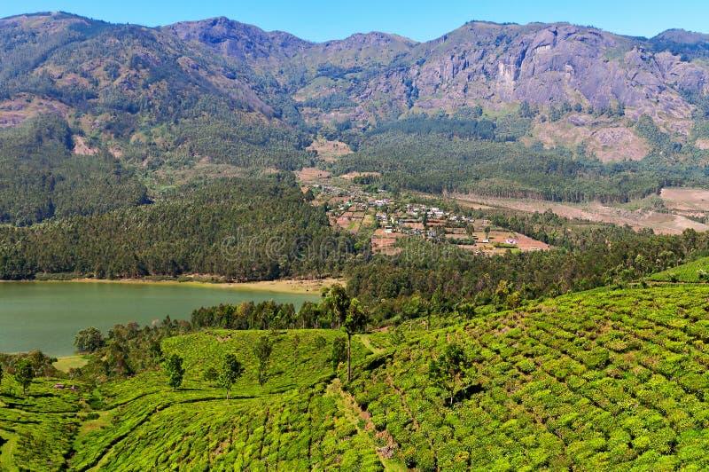 Άποψη της κοιλάδας φυτειών τσαγιού και του φράγματος Madupetty σε Munnar στοκ φωτογραφία