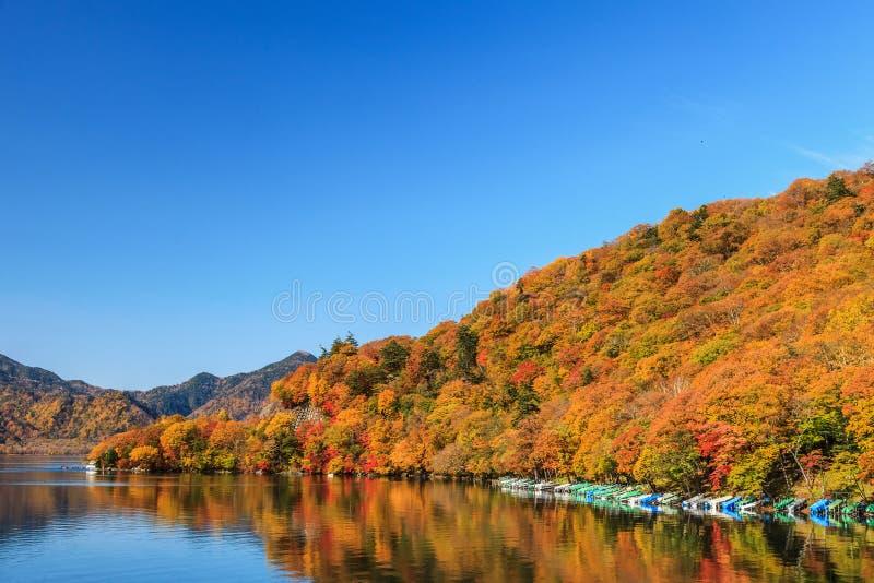 Άποψη της λίμνης Chuzenji στην εποχή φθινοπώρου με το νερό αντανάκλασης μέσα στοκ εικόνες με δικαίωμα ελεύθερης χρήσης