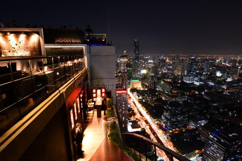 Άποψη της Μπανγκόκ τή νύχτα από το φραγμό φεγγαριών bangkok thailand στοκ εικόνες με δικαίωμα ελεύθερης χρήσης