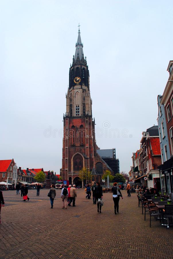 Άποψη της νέας εκκλησίας, κύριο τετραγωνικό Ντελφτ Κάτω Χώρες στοκ φωτογραφία με δικαίωμα ελεύθερης χρήσης