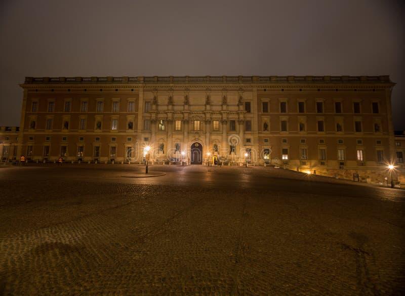 Άποψη της νύχτας Royal Palace στη Στοκχόλμη Σουηδία 05 11 2015 στοκ εικόνες με δικαίωμα ελεύθερης χρήσης