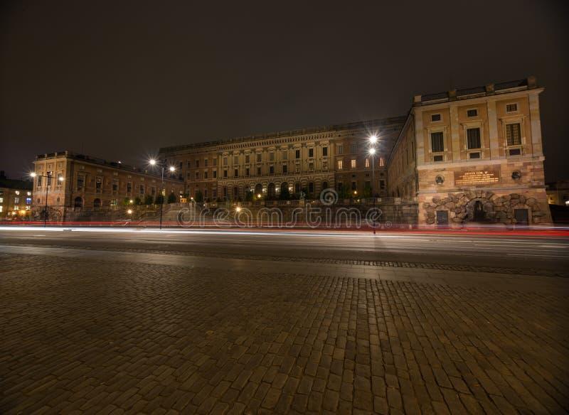 Άποψη της νύχτας Royal Palace στη Στοκχόλμη Σουηδία 05 11 2015 στοκ εικόνες
