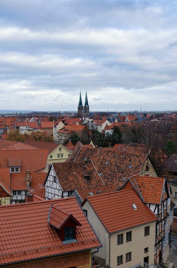 Άποψη της παλαιάς πόλης Quedlinburg άνωθεν στοκ εικόνα