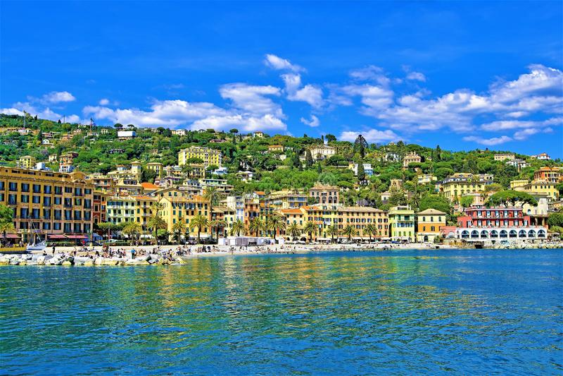 Άποψη της παραλίας SAN Michele Di Pagini, Λιγυρία, Ιταλία στοκ εικόνες