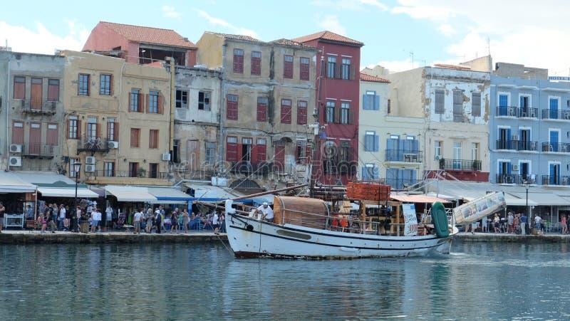 Άποψη της παλαιάς πόλης σε Chania, Ελλάδα στοκ εικόνα