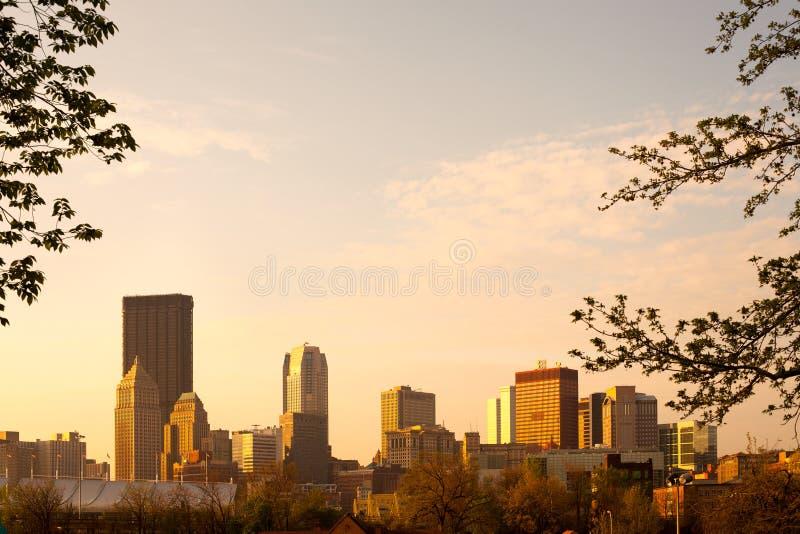 Άποψη της πόλης στο κέντρο από το Allegheny Commons Park, Πίτσμπουργκ στοκ φωτογραφία με δικαίωμα ελεύθερης χρήσης