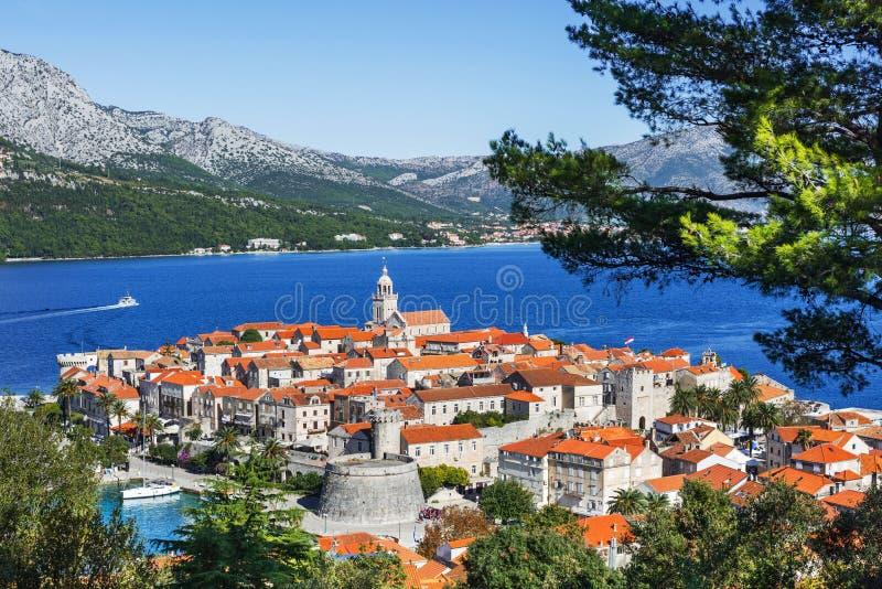 Άποψη της πόλης Korcula, νησί Korcula, Δαλματία, Κροατία στοκ φωτογραφία