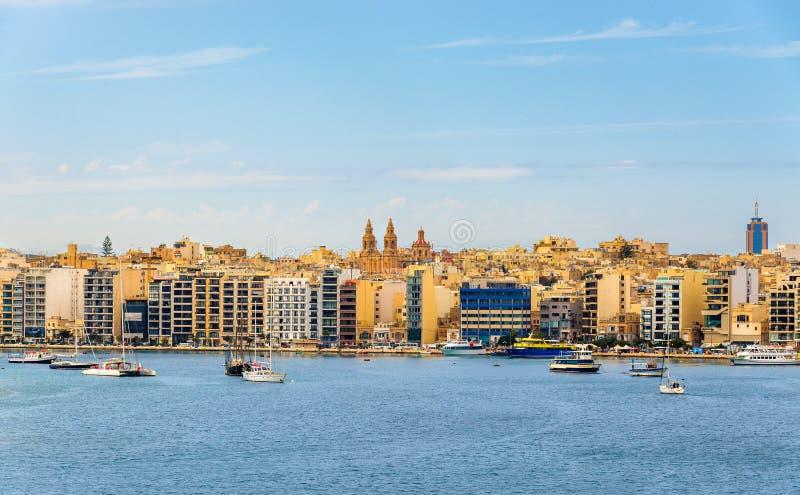 Άποψη της πόλης Sliema - Μάλτα στοκ εικόνες
